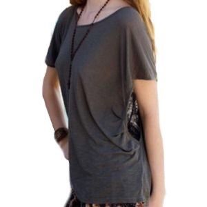 Planet Blue Departure Asymmetrical Top Taupe Grey